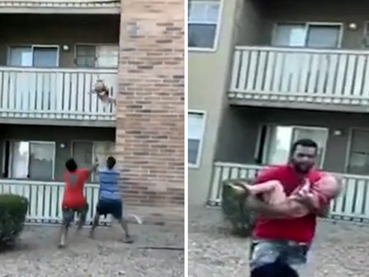 Ex-College Football Player Catches Child Thrown From Burning Building