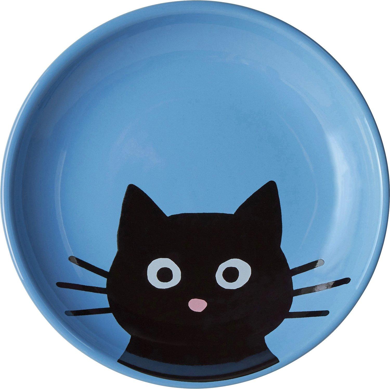 FRISCO Cat Face Non-skid Ceramic Cat Dish, Blue, 0.50 Cup ...