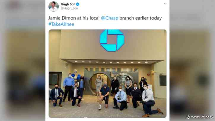 Bank Lives Matter? Internet implodes after JPMorgan CEO Jamie Dimon kneels in front of giant vault…