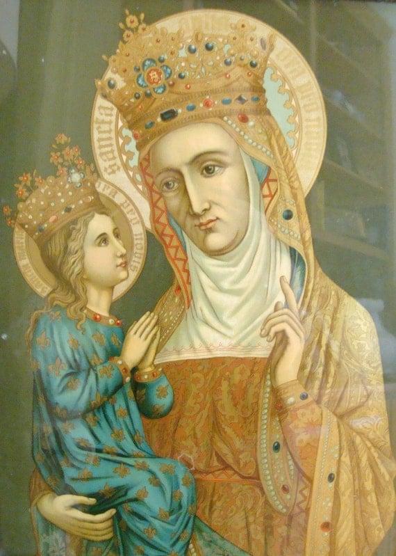 Antique French Religious Icon Saint Anne and Saint Maria Print