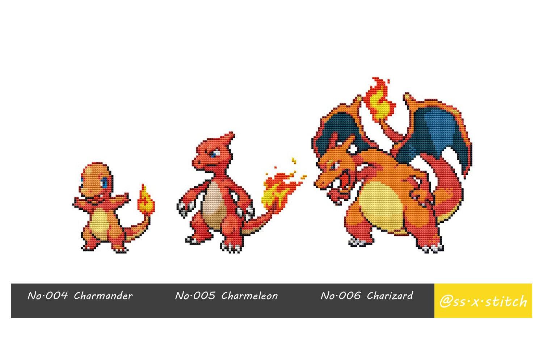 Cross Stitch Pattern Pokémon Sprites 004-006 by SimpleSmart