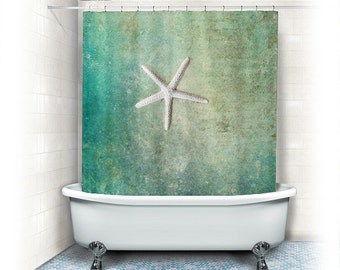 "Starfish Shower Curtain ""Singl e Starfish"" ocean,beach,teal home decor ..."