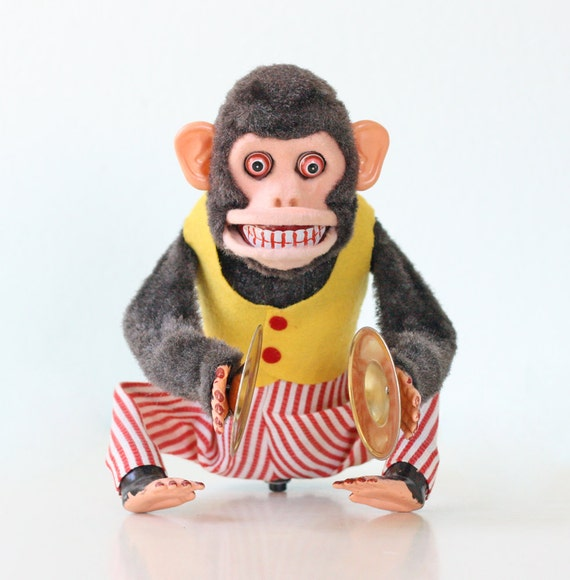 Vintage CK Monkey Toy, Musical Jolly Chimp with Cymbals
