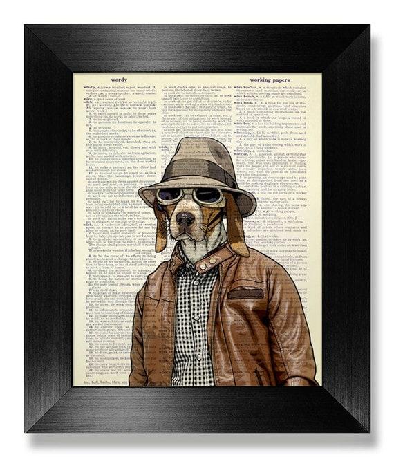 STEAMPUNK Dog Wall Art Print LIVING Room Decor Wall Decor