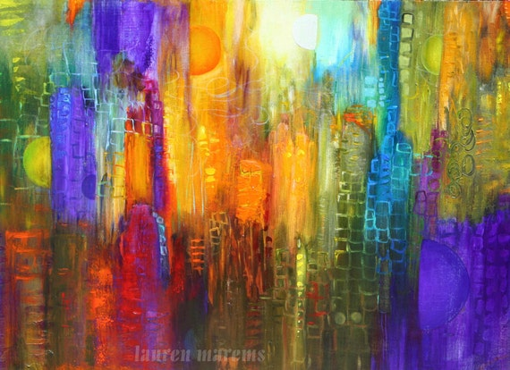 Abstract cityscape painting modern art contemporary