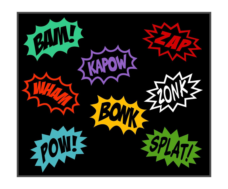 Comic SuperHero Cartoon Word Splash Vinyl Decals by ...