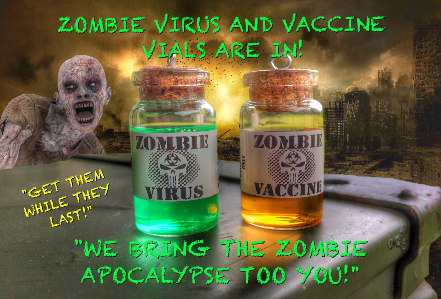 Zombie virus and zombie vaccine necklace inspired by the