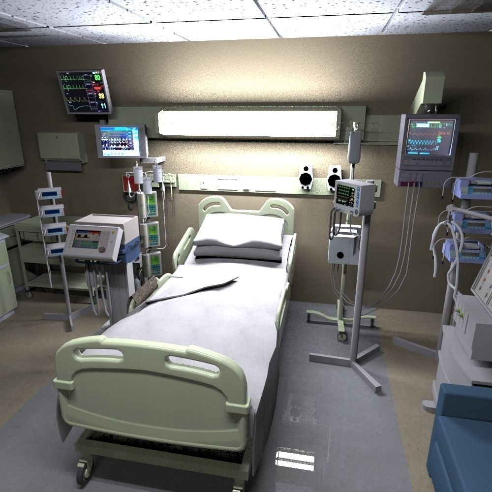 3D model hospital recovery room VR / AR / low-poly FBX MA ...