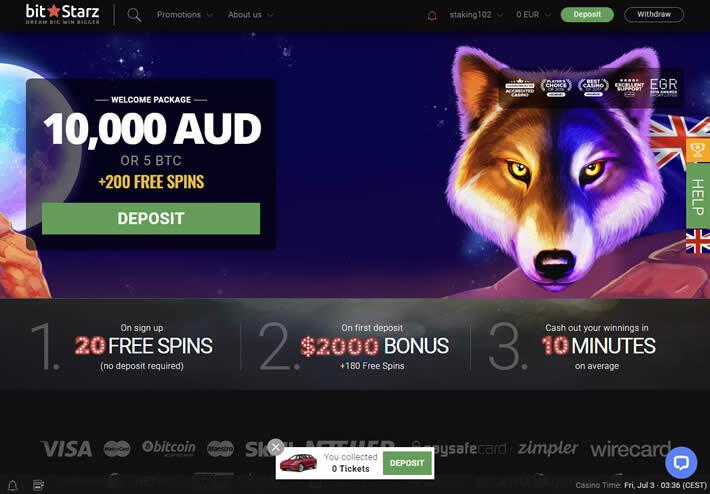 Register with Australian Bitstars Casino and get your starting bonus