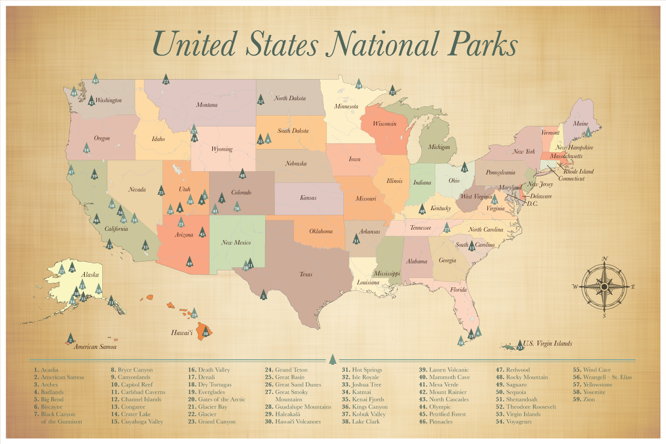 United States National Parks Map, Push Pin Map of the US National Parks