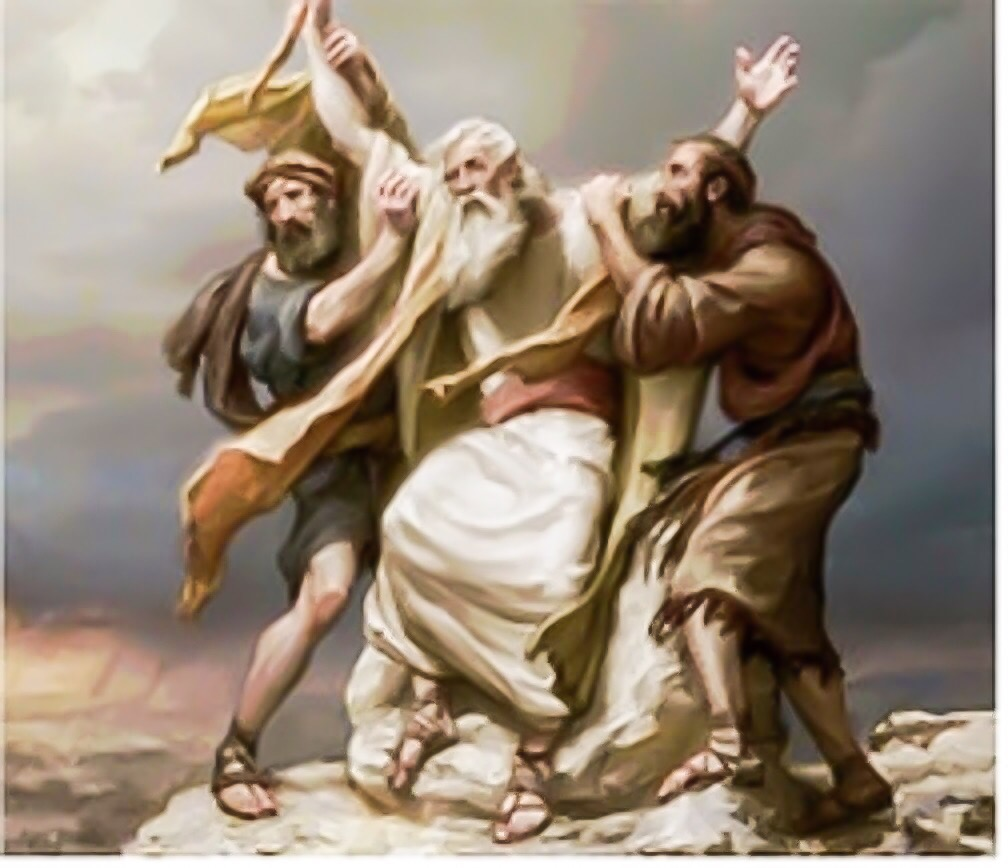 Decades later, Moses's arms needed lifting up in order to defeat their enemy.