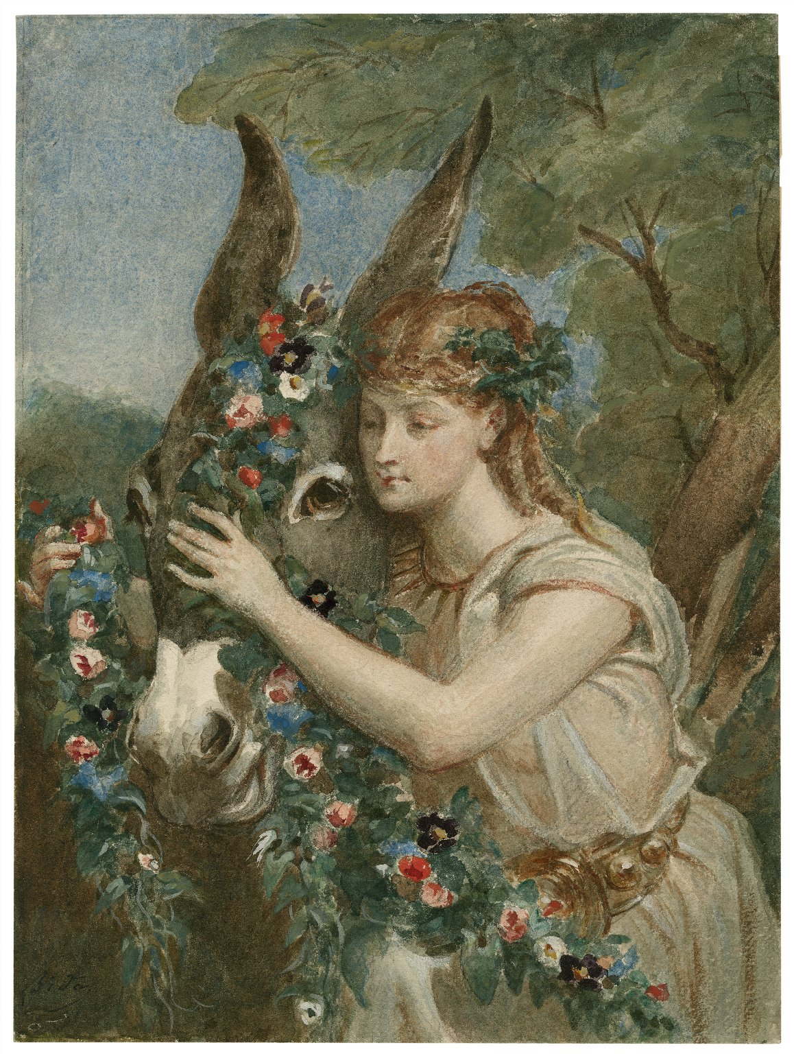 [Midsummer night's dream, IV, 1, Titania adorns Bottom with flowers] [graphic] / [Alexandre Bida ...