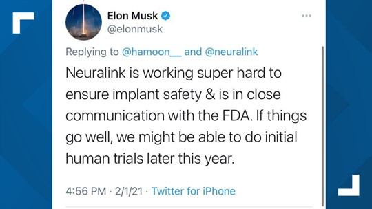 Elon Musk says Neuralink could start human trials by the end of the year | 12news.com