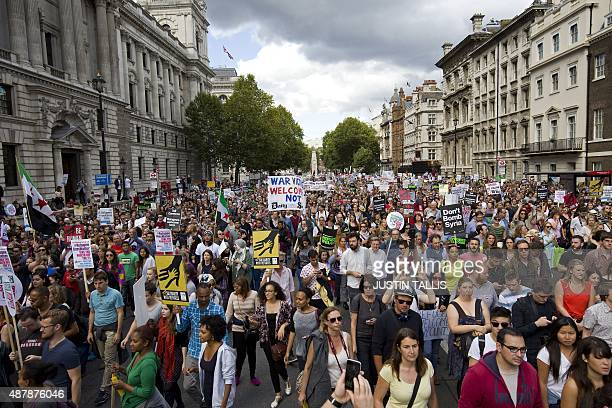 Protest Pro Refugee In Uk Stock Pictures, Royalty-free ...