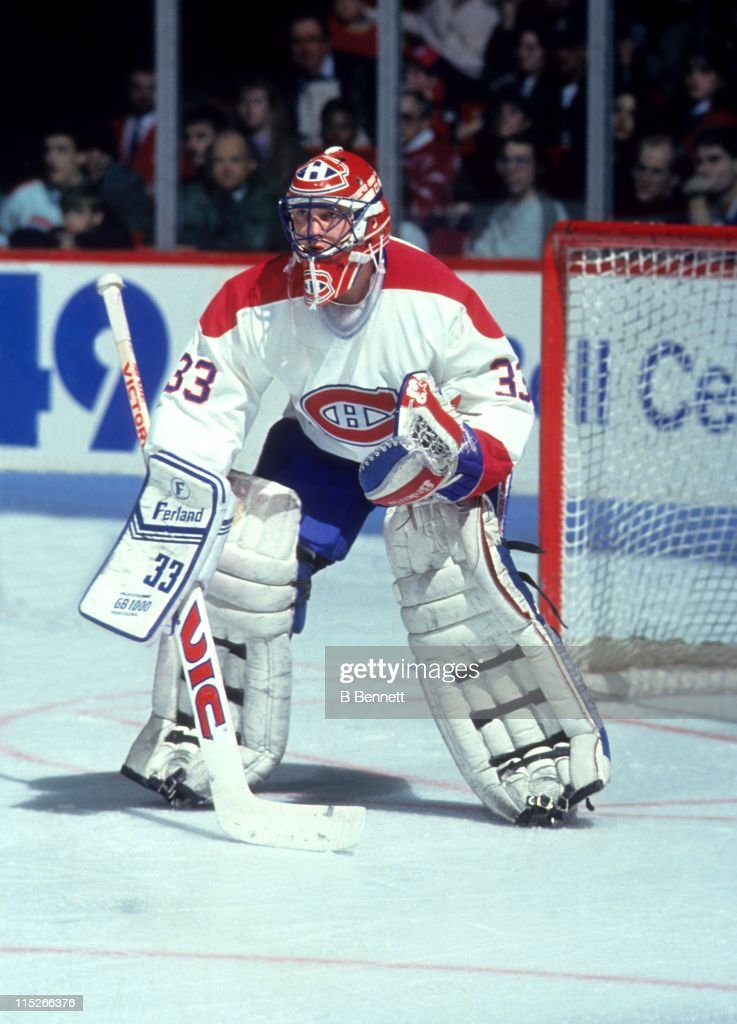 Goalie Patrick Roy of the Montreal Canadiens defends the ...