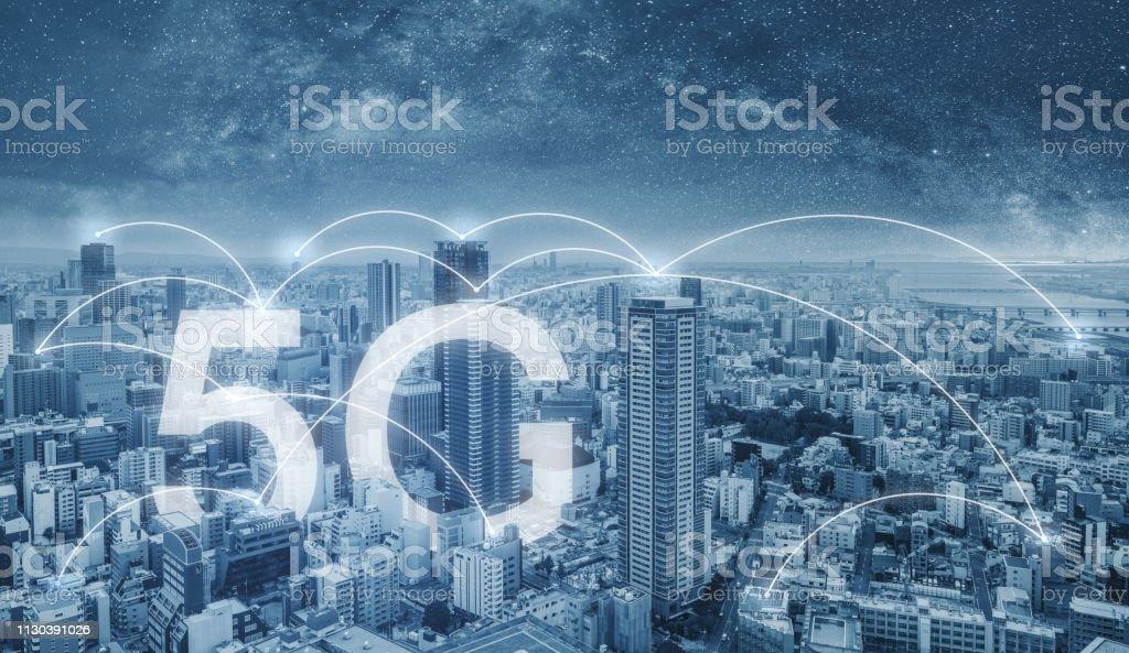 5g Internet Vernetzung In Der Stadt Stadtbild Und ...