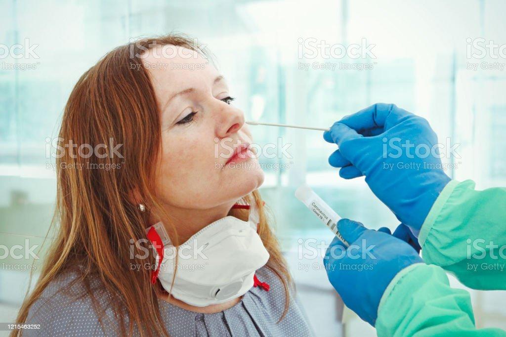 Medic Taking Sample For Coronavirus Testing Stock Photo ...