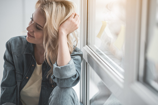 Serene Attractive Woman Being Thoughtful Stock Photo ...