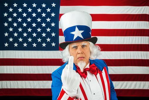 Uncle Sam Giving The Middle Finger While In Front Of The ...