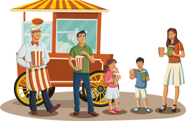 Popcorn Cart Illustrations, Royalty-Free Vector Graphics ...