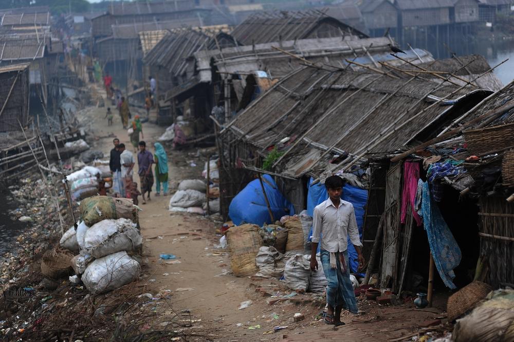 Slum conditions in Bangladesh pose health hazards, and ...