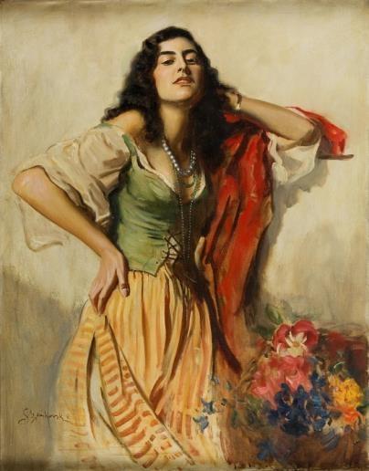 Boleslaw vonSzankowski | Gypsy Woman with Flowers | MutualArt