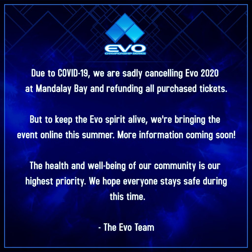 Evo 2020 cancelled, online event now planned   Nintendo Wire