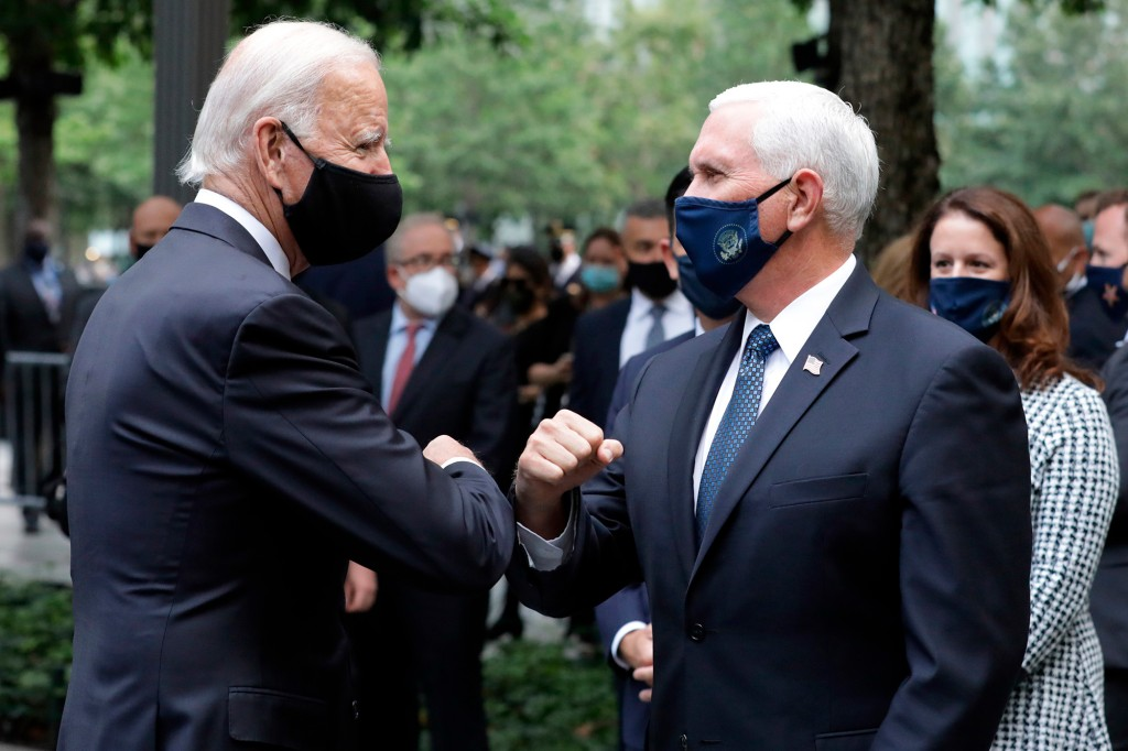 Biden, Pence share elbow bump at 9/11 commemoration in NYC