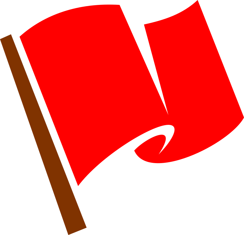 Clipart - Waving Red Flag