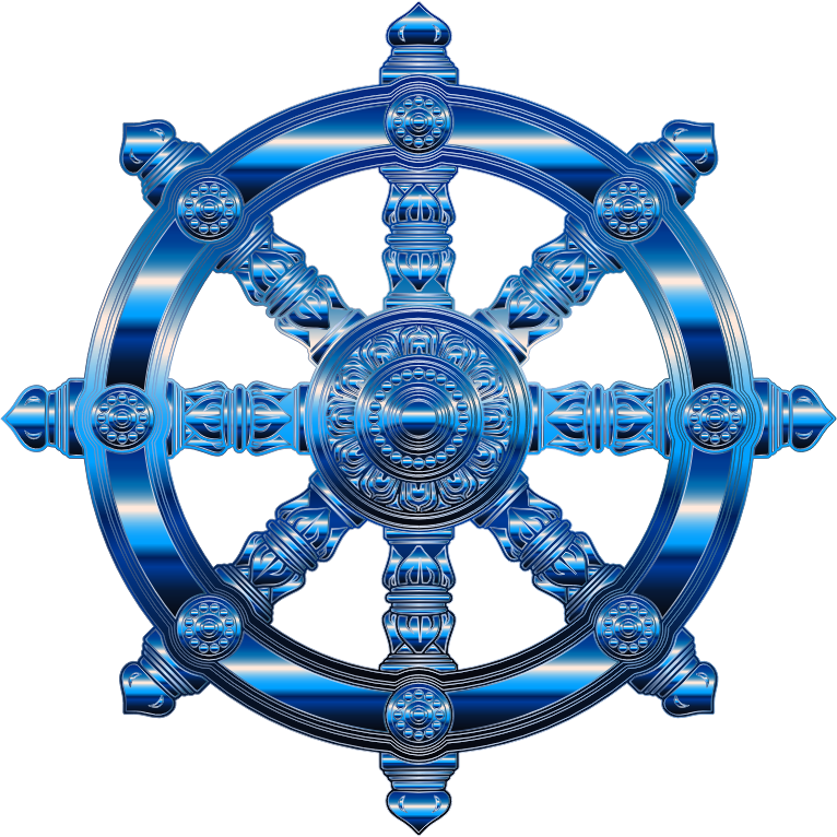 Clipart - Cobalt Ornate Dharma Wheel