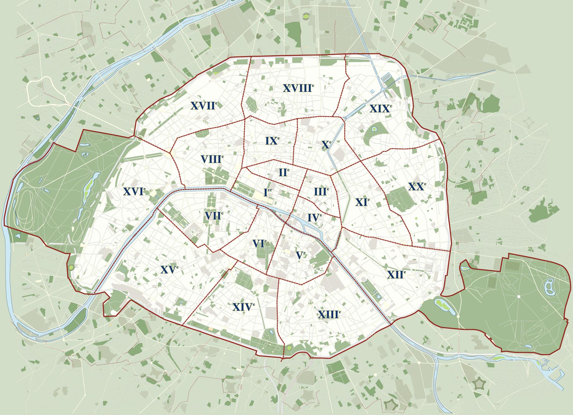 Map of Paris 20 boroughs (arrondissements) & districts