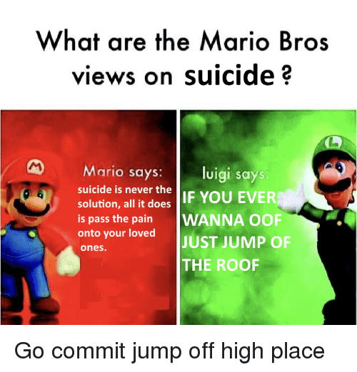 What Are the Mario Bros Views on Suicide? Mario Says Luigi ...