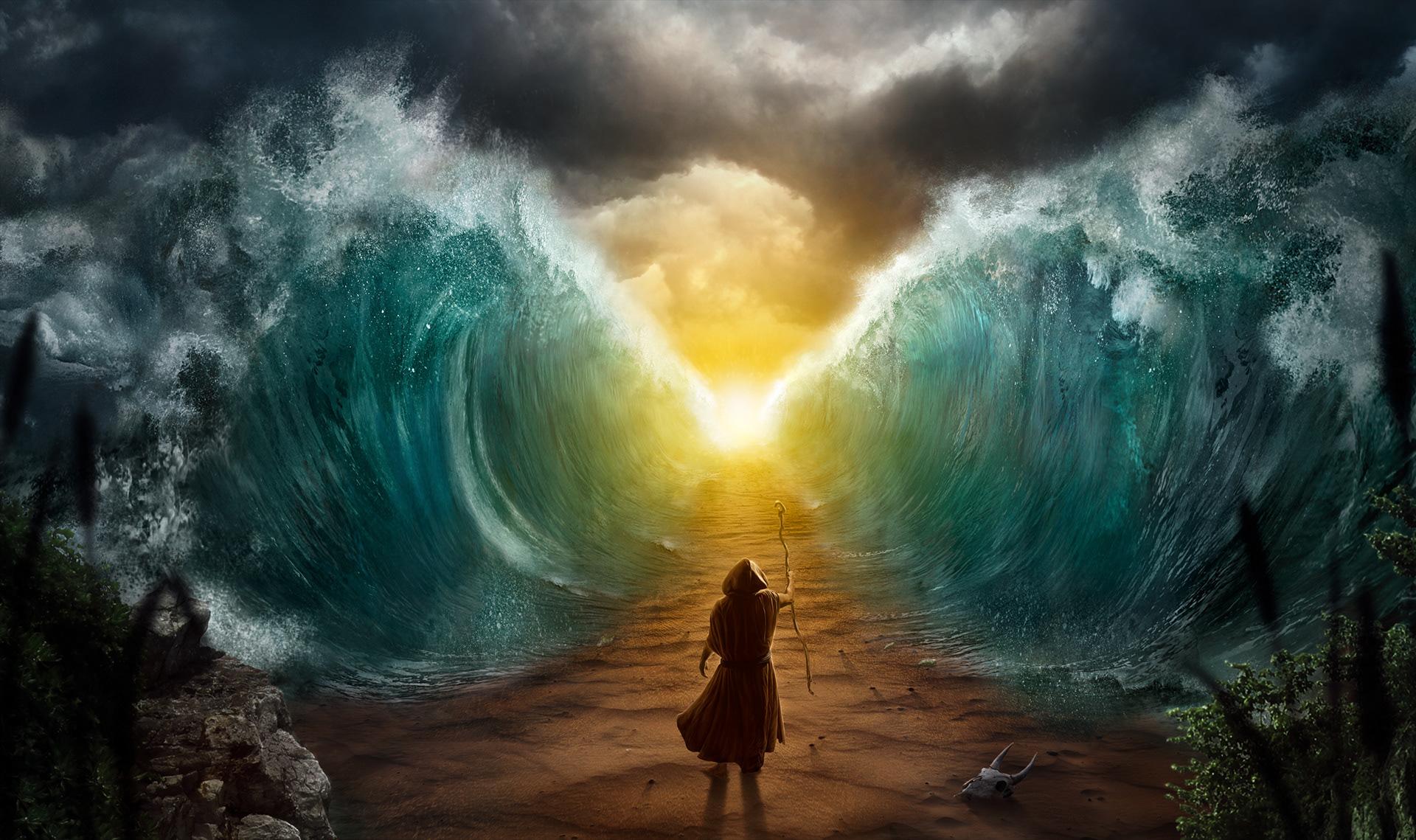 Rüdiger Lauktien - Moses splits the sea