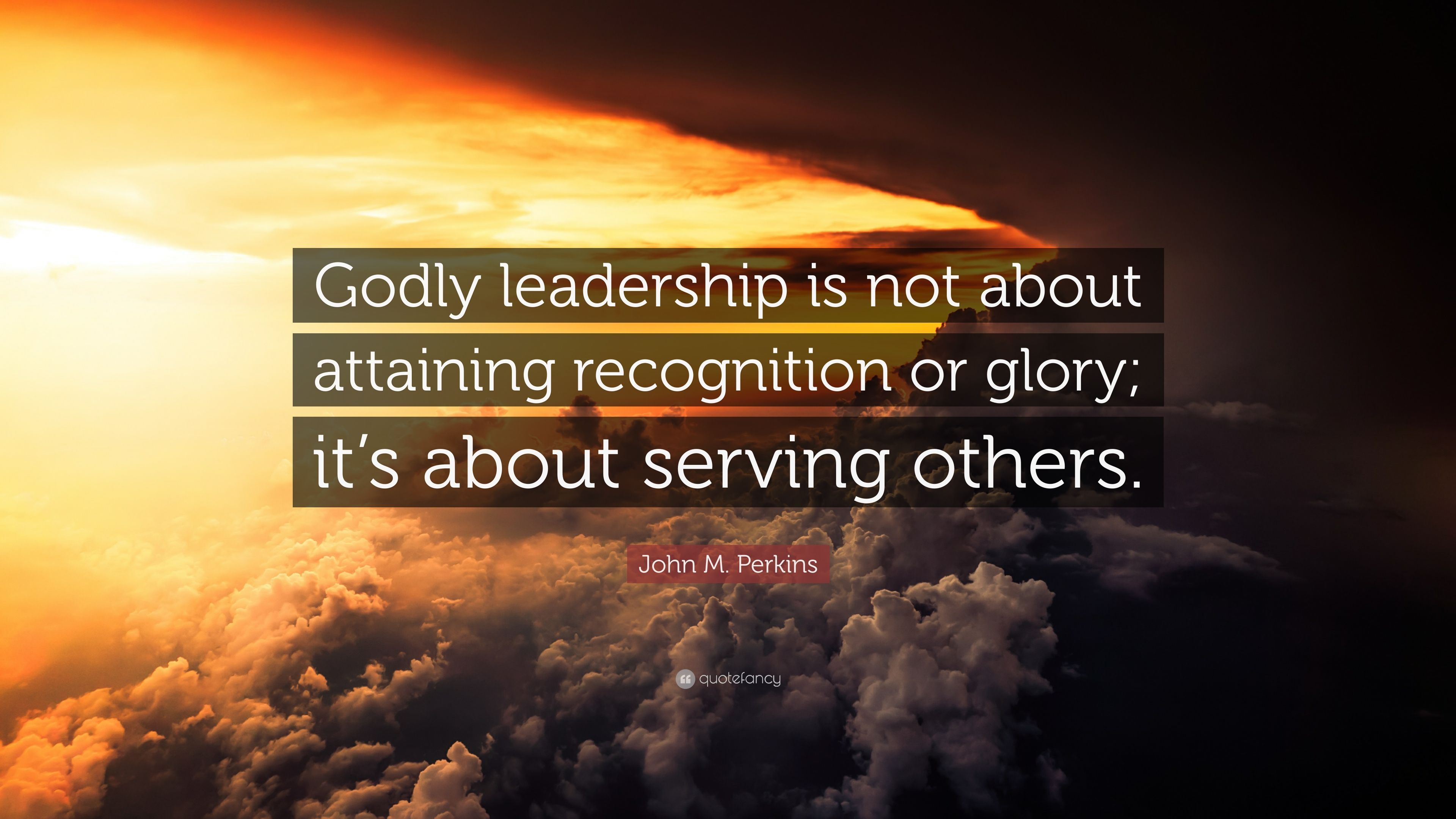 """John M. Perkins Quote: """"Godly leadership is not about ..."""