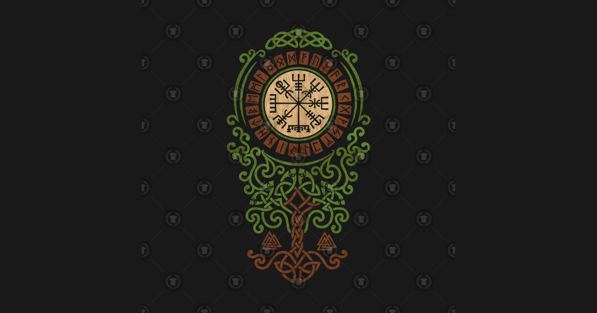 Vegvisir with Tree of life -Yggdrasil and Runes - Vegvisir ...