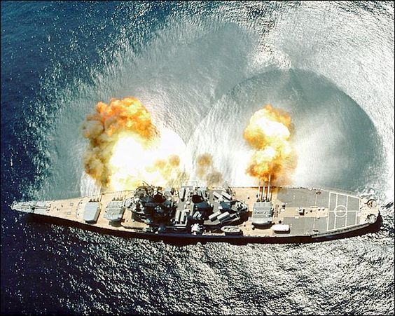 USS Iowa BB-61 Battleship Firing broadside. My husband ...