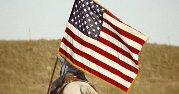 Horse and rider carrying American Flag | americana ...