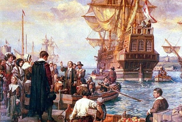 The Departure Of The Pilgrim Fathers In The Mayflower by ...