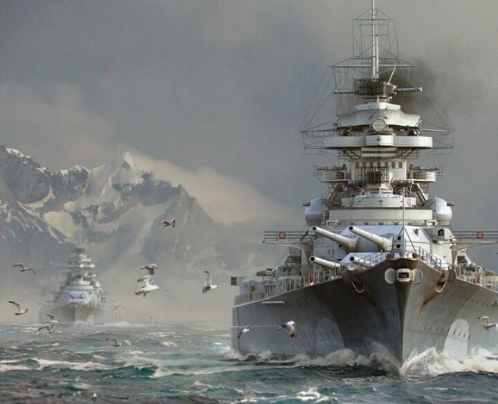 Battleship Bismarck and the Prinz Eugen in the background ...