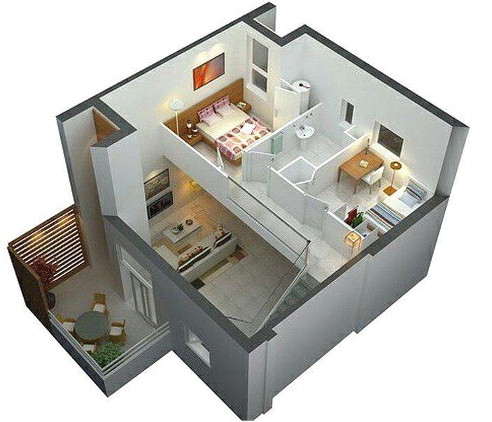 Denah Rumah Sederhana 2 Lantai 2 Kamar Tidur 3D   Desain ...