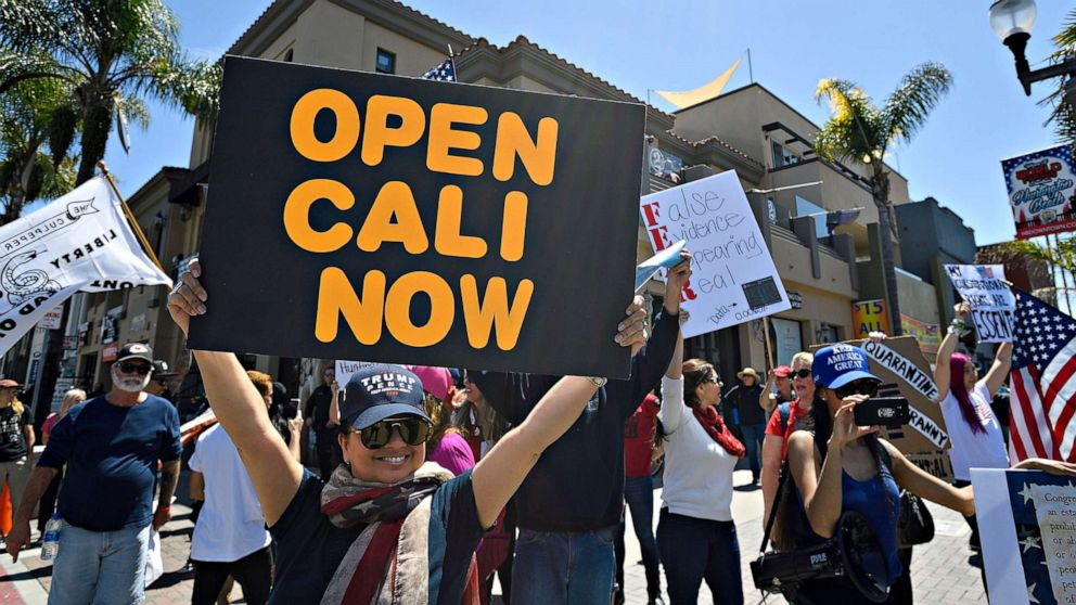 Hundreds gather in California to protest stay-at-home ...