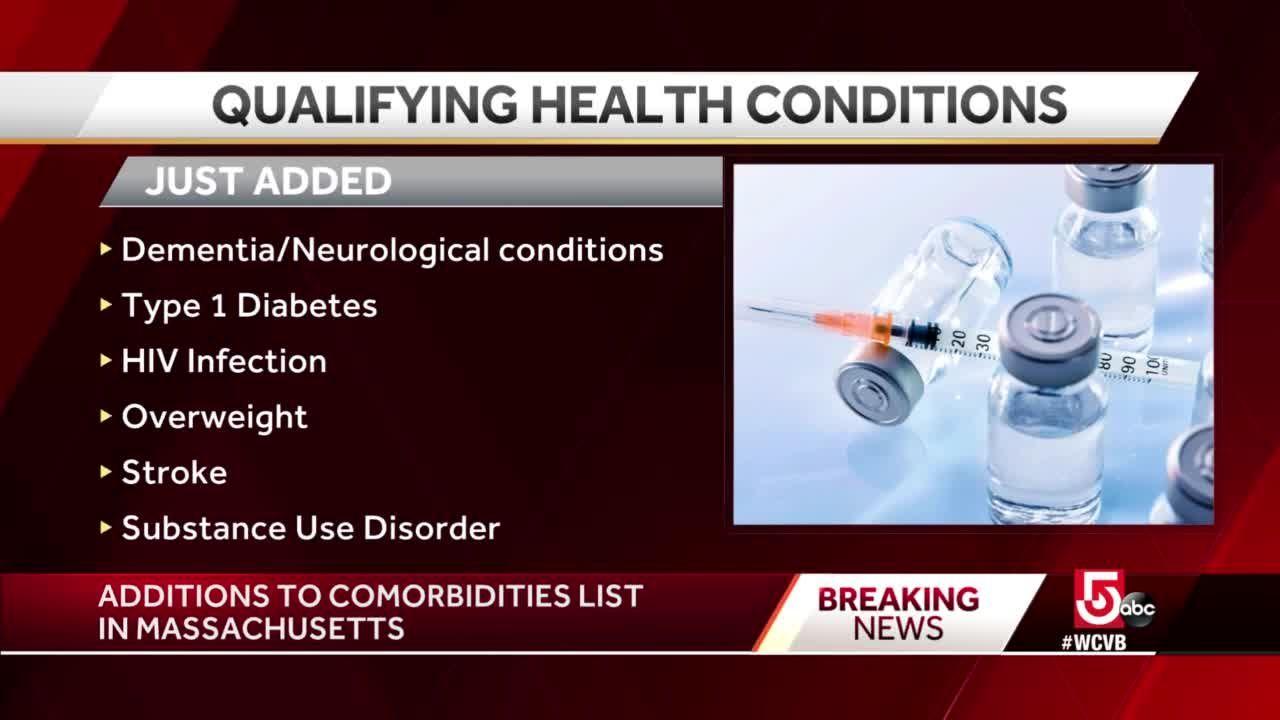 Massachusetts adds conditions to COVID-19 comorbidity list