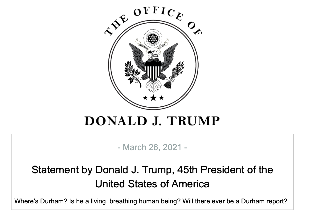 (READ) New short statement about Durham issued by Donald ...