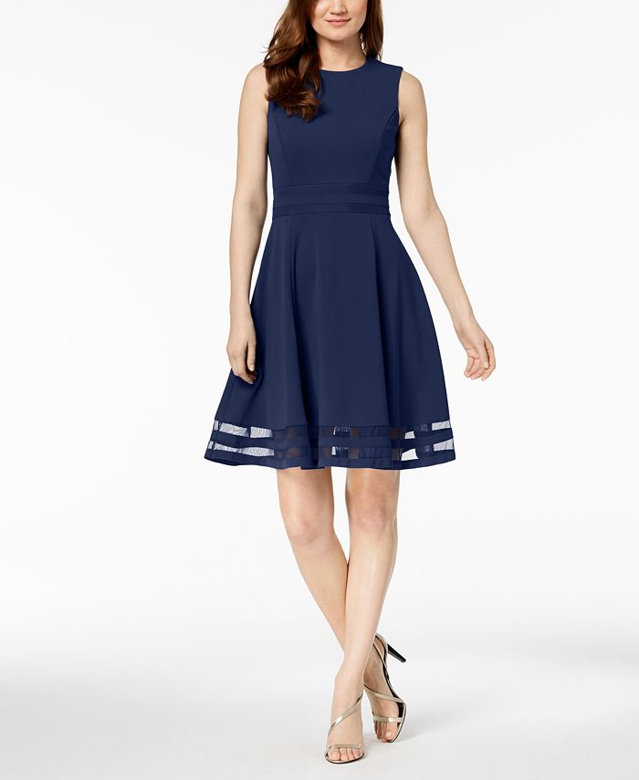 Calvin Klein Illusion-Trim Fit & Flare Dress, Regular ...