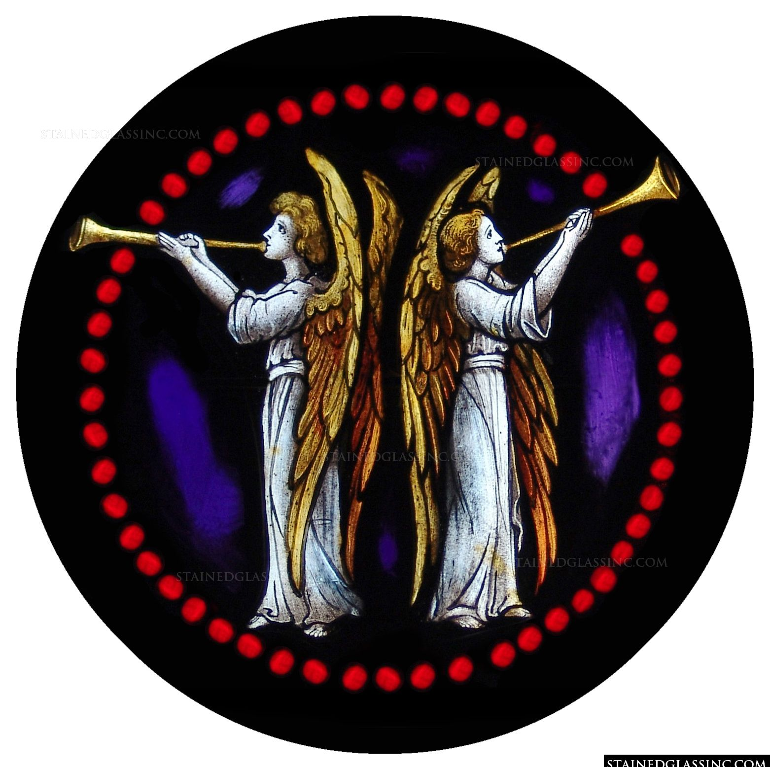 """""""Musical Angels"""" Religious Stained Glass Window"""