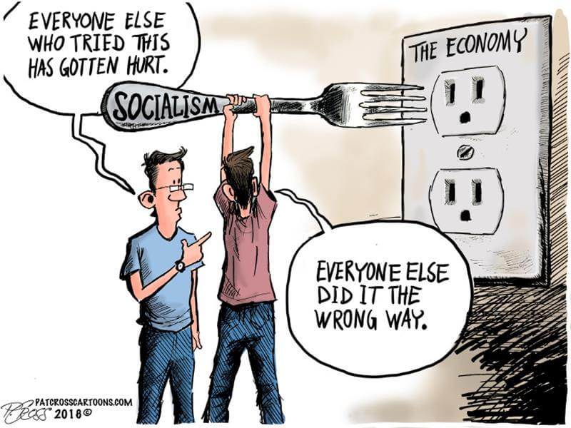 Bernie's Democratic-Socialism Ripped to Pieces by 3 Cartoons