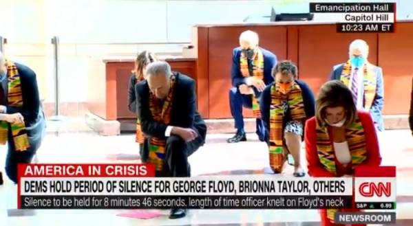 It's a Cult: Pelosi, Schumer Don African Scarves, Kneel Down For 8 Minutes and 46 Seconds to ...