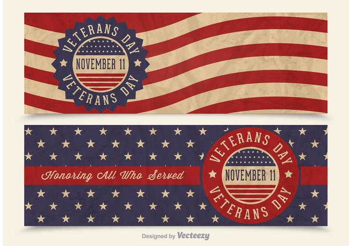 Free Veterans Day Vector Retro Banners - Download Free Vector Art, Stock Graphics & Images