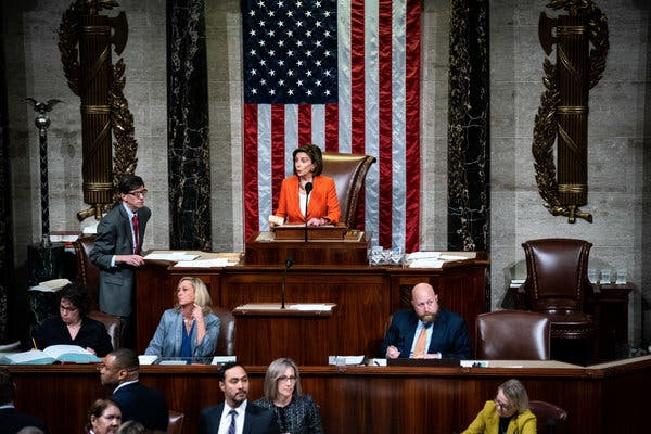 Democrats of the House votes along party lines to impeach Trump…