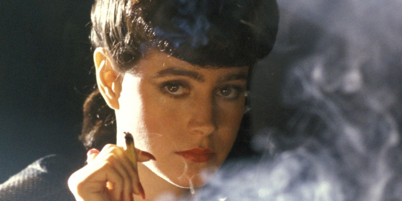 The robotically perfect Rachael from Blade Runner, blowing cigarette smoke out.